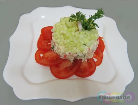 Крабовый салат, интересное оформление