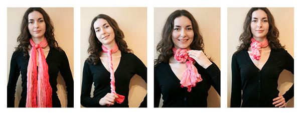 Завязать шарф в виде цветка