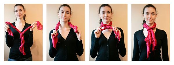 Завязывание шарфа крученым европейским узлом