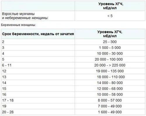 Результаты анализа на ХГЧ