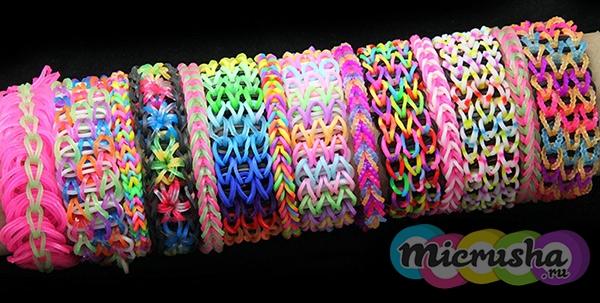 Широкие браслеты из резинок