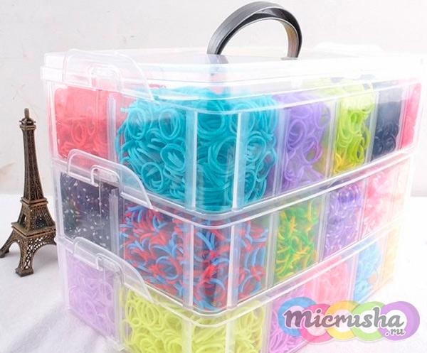 Наборы браслетов из резинок в коробках