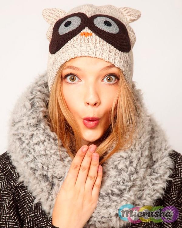 шапка-сова для девушки