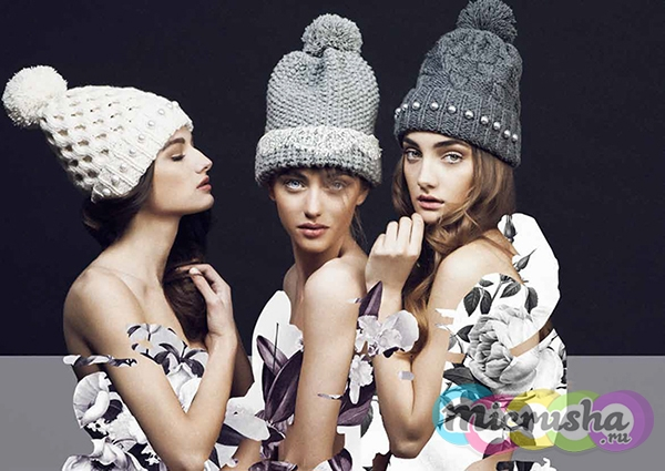 вязанная шапка осень-зима