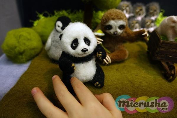 валяная панда ручной работы