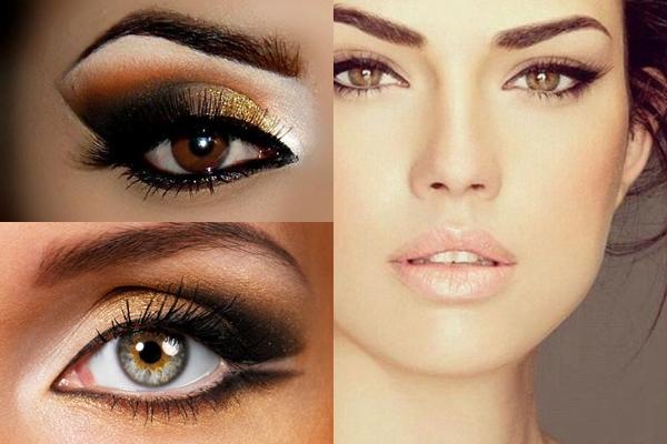 Новогодний макияж карих глаз