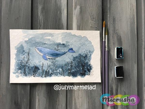 акварельный кит