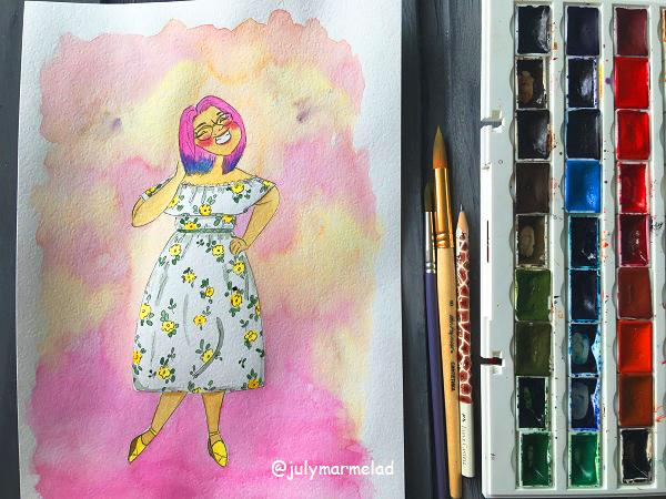 портрет, рисунок девушки
