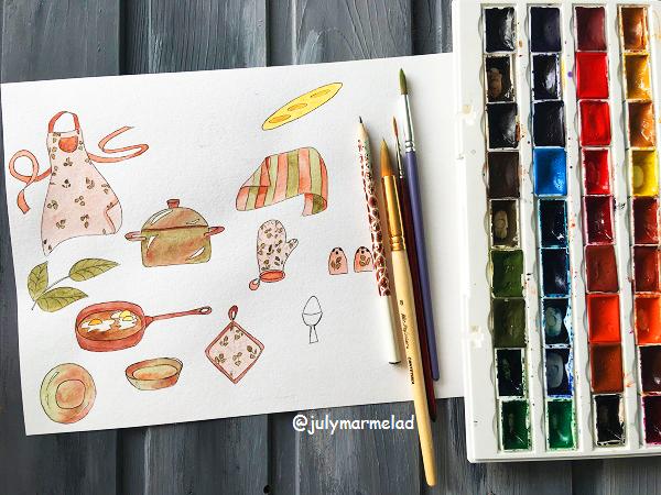 кухня, акварель, предметы на кухню, паттерн