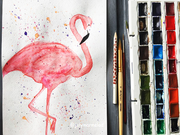 фламинго, акварель, краски