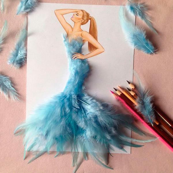 Платье из голубых перьев Эдгар Артис