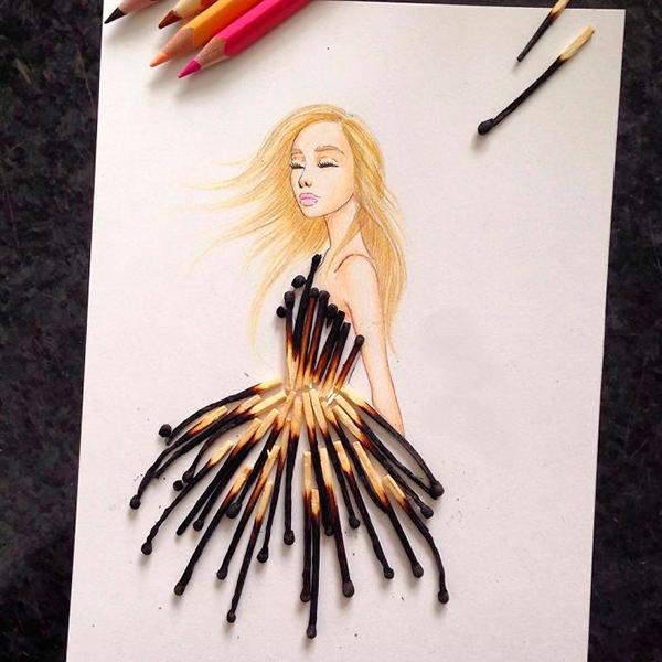 Платье из спичек Эдгар Артис