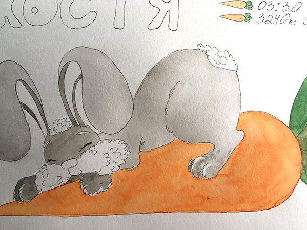 кролик, акварель, морковь