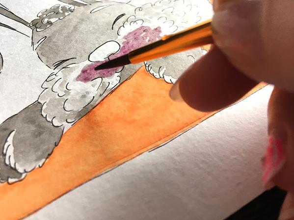 кроль, акварель, морковка, иллюстрация