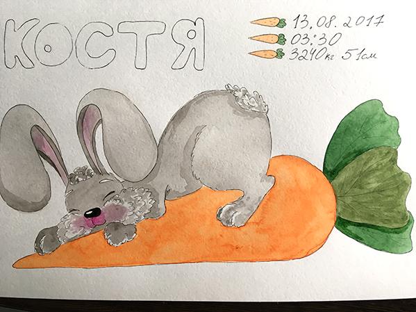 кролик, акварель, рисование