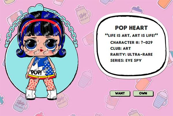 Pop Heart куклы lol декодер капсула