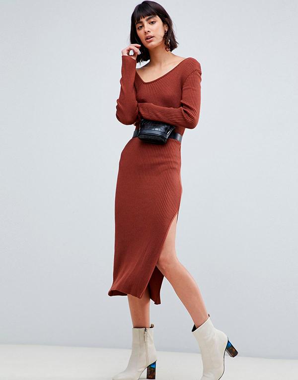 Платье-свитер длинное