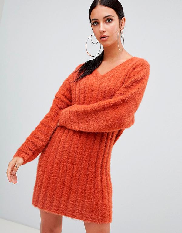 Платье-свитер крупная вязка